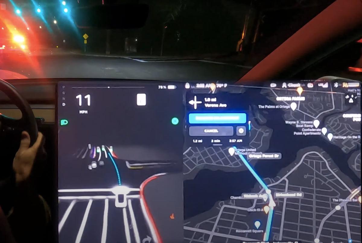 Tesla FSD 9 beta dark